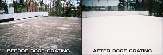 Before & After Picture Showing Benefits of Commercial Roof Coatings On A Flat Commercial Roof