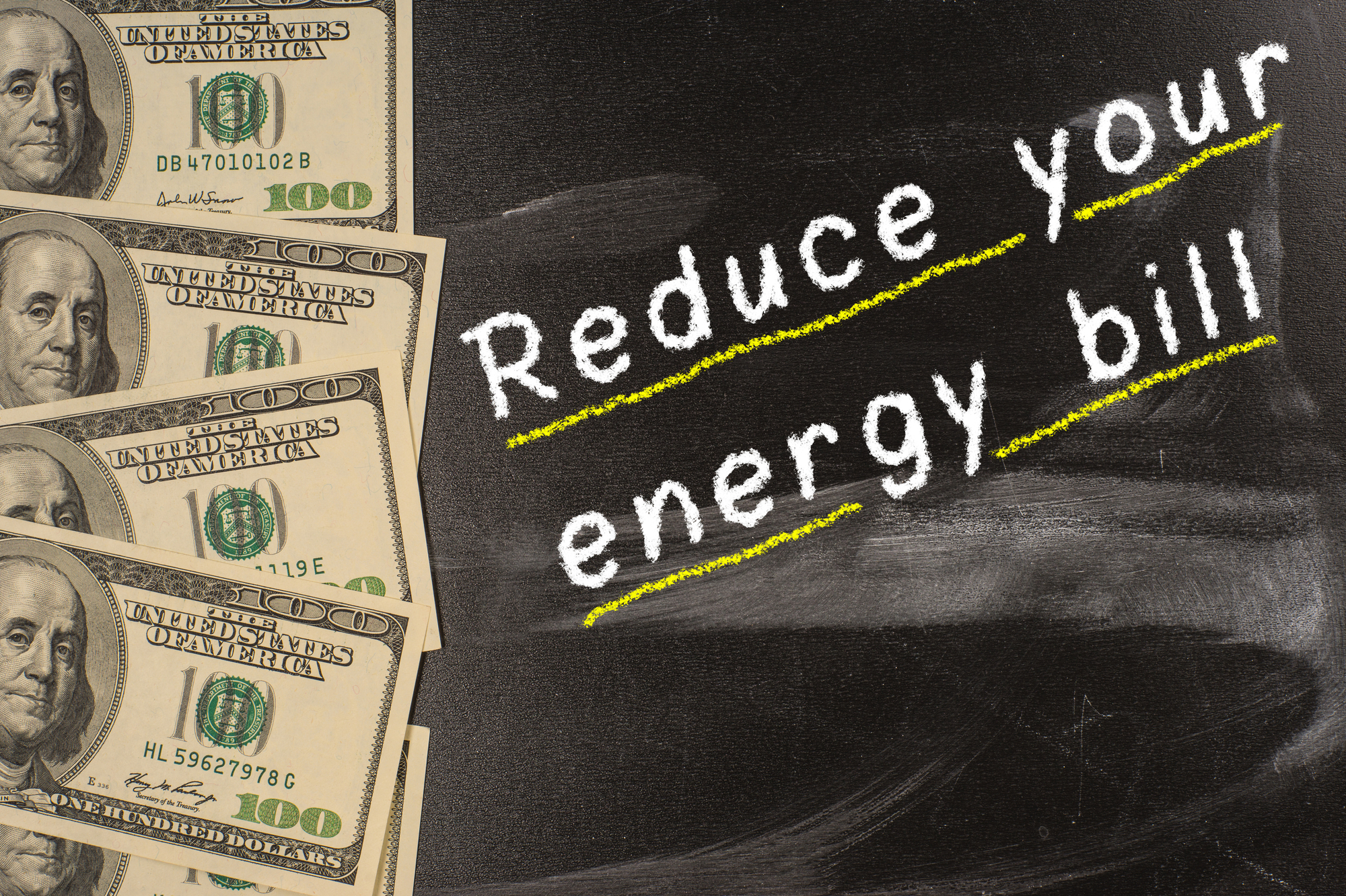Chalk on blackboard with dollar bills and reduce your energy bills with utility audits