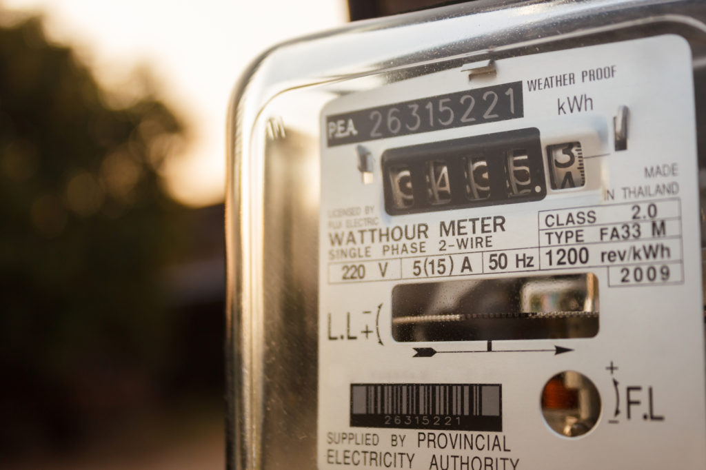 Utility Meter At Sunset After Review By Utility Bill Processing Company