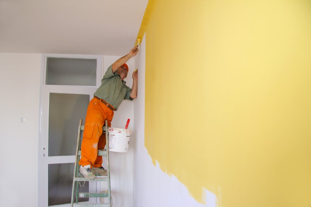 Professional Painter Repainting Apartment Walls During Apartment Turnover Projects