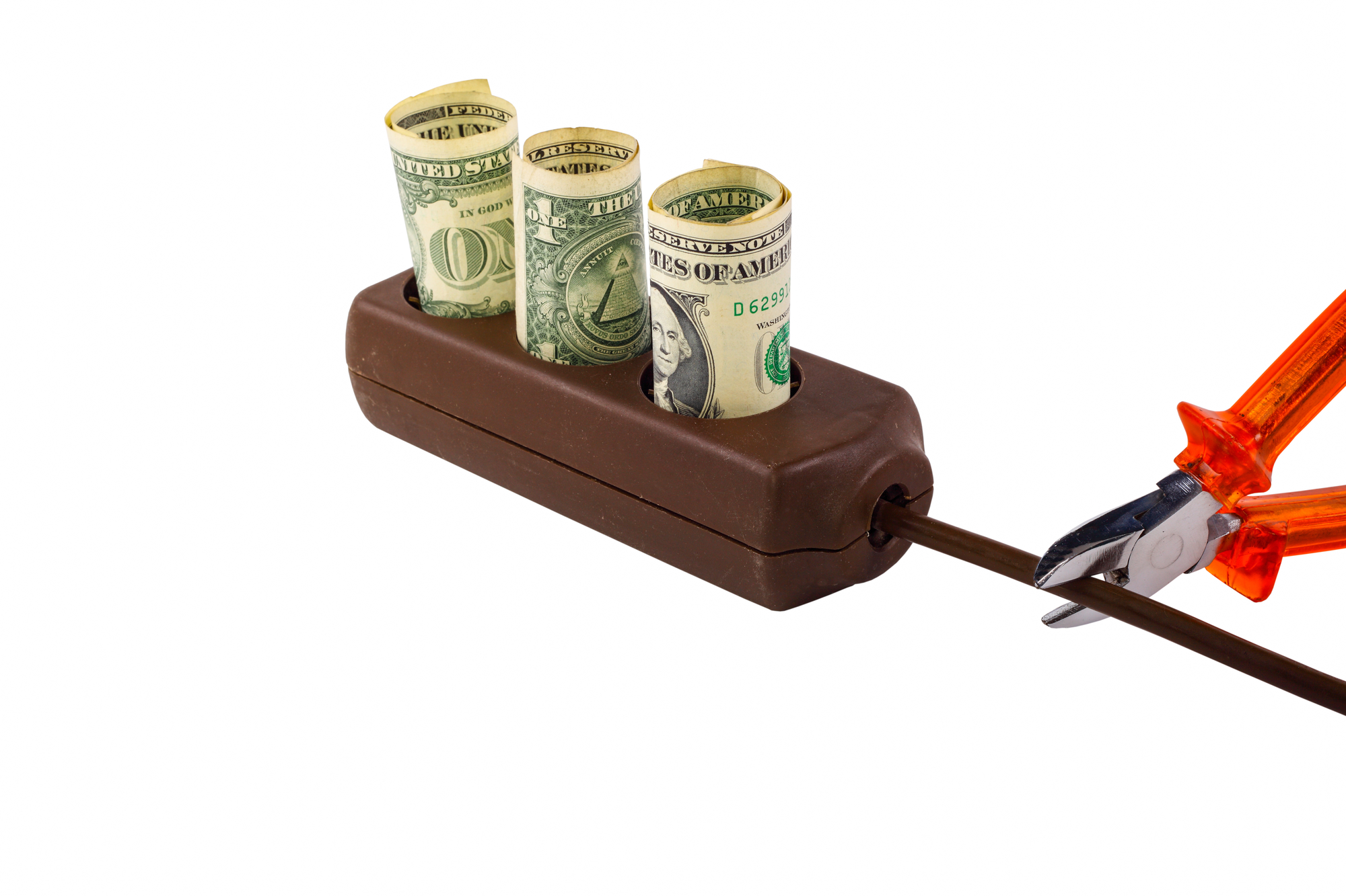 Scissors Cutting Power Cord With Money Lowering A Commercial Property's Energy Use
