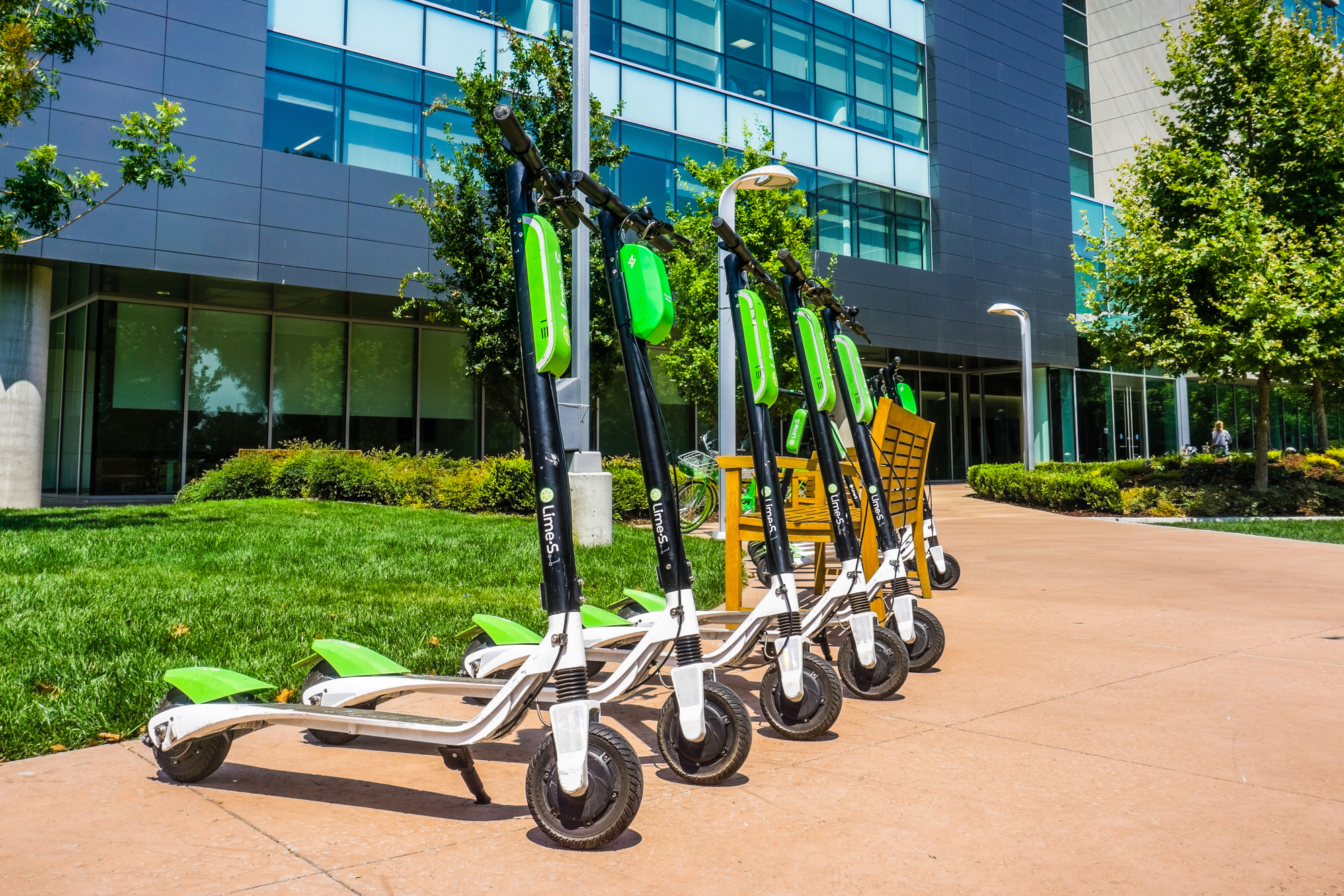 Lime Scooters Parked Outside Office Property For Multifamily Properties E-Scooter Policies Blog